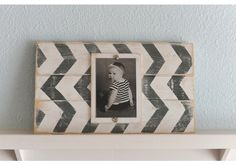 Wood Plank Chevron Picture Frame