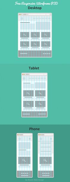 Flat Free Responsive Wireframe (PSD File) - Bloom Web Design Plus 5 things to keep in ming when rebranding your company.  WE WORK Responsive design example