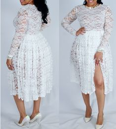 The Flora II Dress is a beautiful piece that can be worn to many different occasions! It's constructed from a beautiful stretch lace! Joni is weari. White Plus Size Dresses, Plus Size Outfits, White Dress, African Fashion Dresses, African Dress, African Style, White Fashion, Curvy Fashion, Fashion 2018