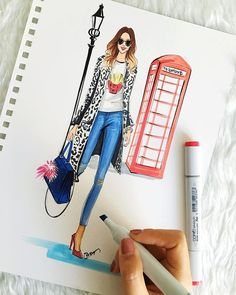 Fashion Illustration Inspired by London fashion week 2016 by Houston fashion Illustrator Rongrong DeVoe Fashion Design Sketchbook, Fashion Design Drawings, Fashion Sketches, Drawing Fashion, Fashion Wall Art, Fashion Prints, Fashion Illustration Dresses, Fashion Illustrations, Dress Sketches