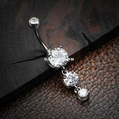 Classic Cascade Sparkle Gem Belly Button Ring-Clear