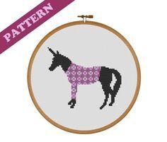 Unicorn in Purple Sweater Cross-Stitch Pattern, Instant PDF download