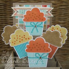 Stampin Up Create a Cupcake pop up card in a box & template by Di Barnes 3d Paper Projects, Projects To Try, Paper Crafts, Pop Up Card Templates, Pop Up Box Cards, Folded Cards, Crafts To Make, Birthday Cards, Birthday Bash