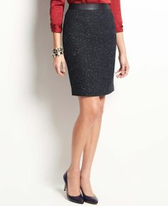 Faux Leather Waist Tweed Skirt