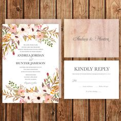 Rustic Wedding Invitation Printable Pink Blush by BettyLuDesigns