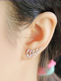 Golden Extending Olive Branch AD Earrings #Earrings