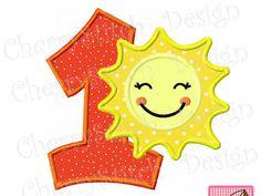Sunshine with number 1 applique,Sunshine design,Sun -4x4 5x7 6x10-Machine Embroidery Applique Design by CherryStitchDesign on Etsy