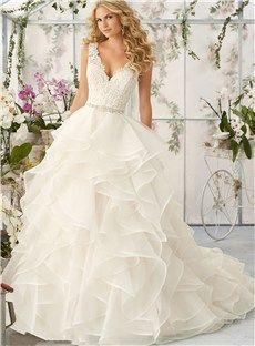 Beautiful Backless A Line Floor-Length V Neck Appliques Beading Court Train Wedding Dress