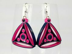Fuchsia Navy Earrings Quilled Earrings by SweetheartsandCrafts
