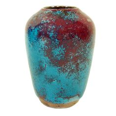 """c1930s JUGTOWN CHINESE BLUE + RED NORTH CAROLINA 4 1/2"""" ART POTTERY CABINET VASE"""