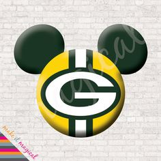 Green Bay Packers Mickey Mouse Head Digital by MakeitMagical