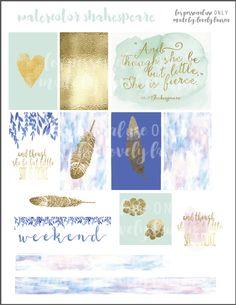 Free Printable Watercolor Shakespeare Planner Stickers - Lovely Lauren