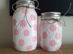 Polka Dot Colored Mason Jars, Nursery Decor, Baby Shower Gift, Jar Centerpieces, Bathroom Decor, Desk Accessories