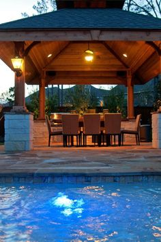 Garten Pavillon gemauert Essplatz Beleuchtung Laterne Pool