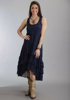 Navy Crepe Tank Dress  #dress #country