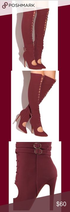 Sexy laced up thigh high boots See description on 4th picture Fashion Nova Shoes Over the Knee Boots