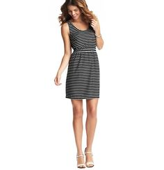 Loft - Dresses: Casual Dresses, Shirt Dresses, Cotton  Sheath Dresses: LOFT - Medium Stripe Woven Tank Dress