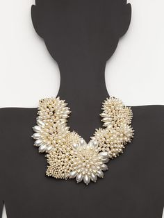 Very Wang Pearl Flower Bib Necklace (via Gilt)
