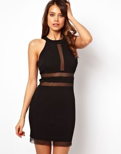 Body-Conscious Dress with Sheer Inserts