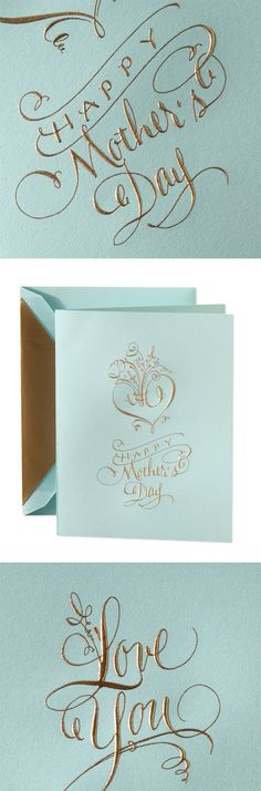 Hand Engraved All That Glitters Mother's Day Greeting Card: A little shine goes a long way. At least that was Mom's motto, which is why she'll love this elegant turquoise card engraved with calligraphic swirls of gold.