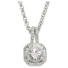 Eternally Haute 5ct TGW Halo Cubic Zirconia Pendant Necklace ($22) ❤ liked on Polyvore featuring jewelry, necklaces, silver, long necklace pendant, pendants & necklaces, white necklace, long chain necklace and cable chain necklace