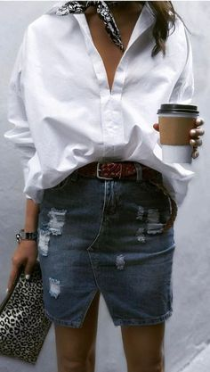 An White Oversized Man's Shirt [WOMS] -- great with jeans or skirts /// cool casual style outfit shirt + denim skirt