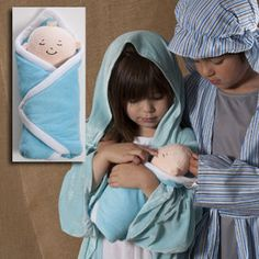 Baby Jesus prop doll and Mary, Joseph Nativity costumes for kids