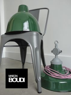 MATT GREY metal chairs   BRIT GREEN vitreous enamel industrial Lights
