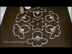 easy rangoli designs with 7 dots for beginners * simple kolam designs * latest muggulu with dots - YouTube