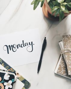 This week I'm so thankful for Monday because it reminds me there are still four days left in the week to get everything done   #motivation #Monday #handlettered #desk #decor #busy #bookbinding #planning #riflepaper #riflepaperco #inspiration #reminders #plant #happy #studio #thecurioco #december