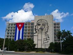 Ministry of Interior building with sculpture of Che Guevara. Most references to Revolution Square on the Web show only this building and sculpture, which were erected around 1959.