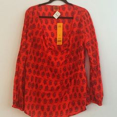 Boho Chic Tory Burch Top So Chic, so Tory Burch! 100% cotton, perfect for warmer days. Red/orange color with black details. Tory Burch Tops Tunics
