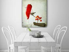 """Farbe - Leinwand """"Hot chilli in gardening  """" 40 x 30 cm - ein Designerstück von Heavensblue-Fotografie bei DaWanda"""