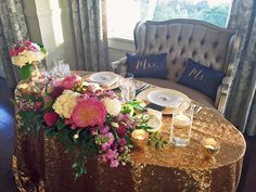 Navy and Gold Sweetheart Table