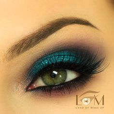 Teal and deep plum eye makeup #eye #makeup #eyes #eyeshadow #bright #glitter  #dramatic #bold