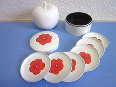 Laurids Lonborg Danish modernist melamine coasters box 7-piece Denmark 60s