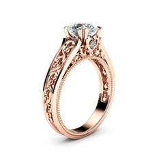 Rose Gold Moissanite Engagement Ring Milgrain Moissanite Ring Vintage Engagement Ring Whisper forever to your ladylove with this milgrain moissanite engagement ring. Handmade by an expert jewelry designer, the mounting is a series of solid rose gold fi Engagement Ring Rose Gold, Engagement Rings Couple, Wedding Rings Rose Gold, Wedding Rings Vintage, Vintage Engagement Rings, Vintage Rings, Wedding Gold, Ring Set, Ring Verlobung