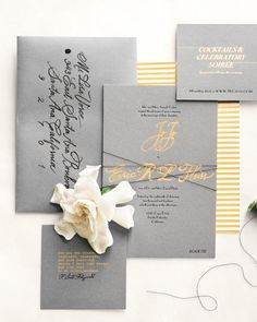 "Gray/ silver envelopes black pen To set the scene for your winter wedding, send an invite that includes seasonal details but doesn't necessarily shout ""'Tis the Season."" Don't know how to pull that off? See how these couples did it for their December, January, and February weddings with stationery suites that don't have a snowflake in sight! Elegant Winter Invites Even though Jojo got married in Southern California in January, she knew just where to turn for the touches that would make it…"