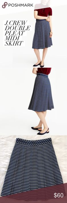 """J. Crew • Double Pleated Midi Skirt in Stripe Classic stripes and double pleats come together beautifully in this form flattering, feminine skirt that cinches the waist while its A-Line hem elegantly sways with you as you move. This versatile, multi-seasonal midi-skirt is an absolute gem and a perfect addition to any wardrobe  NWT :: Pristine Condition MSRP :: $98 Materials :: 100% Polyester Style :: F5460  Measurements :: Flat, Approx Waist: 15"""" Length: 25.5"""" J. Crew Skirts A-Line or Full"""