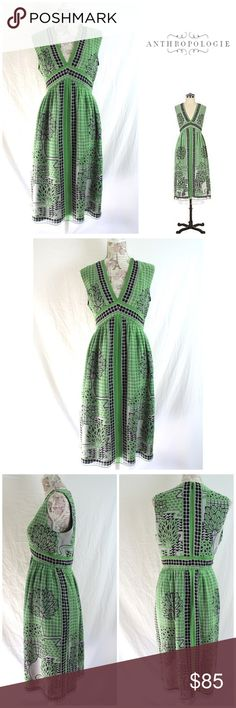 """Anna Sui Silk Dress Green Trees 🌳 V Neck Midi 10 This is an Anna Sui for Anthropologie 100% silk midi dress with tree print in size 10. V neck. Sleeveless. Fully lined in 100% acetate.  Hidden back zip. 2 tiny thread pulls- see pic 5. Otherwise in GORGEOUS, clean condition. Measurements: when flat on front side, 14"""" between shoulder seams, 19"""" between underarms, 16"""" across at waist, 25"""" across at hips and total length is 42"""". Beautiful dress by Anna Sui. Spotless. Ready to wear…"""