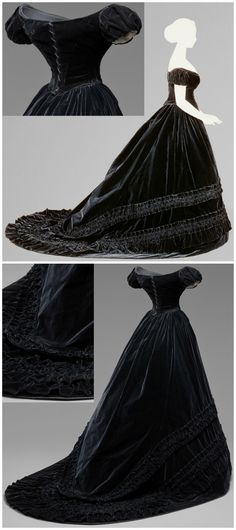 Black Velvet Dress Belonging to Empress Elisabeth of Austria, maker unknown (Austria), c. 1860‑1865. Velvet and silk. Kunsthistorisches Museum, Vienna, Austria. Photos via: (Side view): Kunsthistorisches Museum (link: http://www.khm.at/besuchen/ausstellungen/habsburg-splendor/); (Back view and detail): http://glasstire.com/2015/07/24/habsburgs-rule/