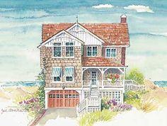Summertime Cottage II - Coastal Home Plans Coastal Cottage, Coastal Homes, Coastal Style, Coastal Living, Coastal Decor, Coastal Curtains, Coastal Entryway, Coastal Rugs, Coastal Bedding