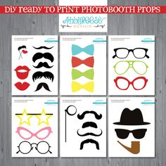 YES FOR GABE!! INSTANT download - MUSTACHE photo booth props, DIGITAL printable photo props, photo booth
