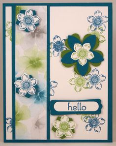 Hello Flower Card Stamps: Petite Petals Watercolor Wonder Designer Series Paper Colors: Whisper White, Gumball Green, Island Indigo Punches: Petite Petals, Word Window, Modern Label