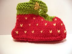 "Strawberry Shoes by Val Pierce - Published in ""Cutest Ever Baby Knits"" - Available on our website at: http://www.dublinbay.net/cgi-bin/commerce.cgi?preadd=action&key=7563"