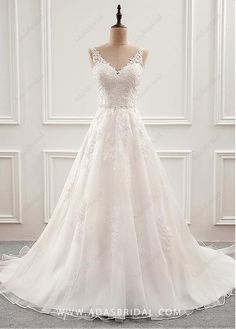 Buy discount Fabulous Tulle & Organza V-neck Neckline A-Line Wedding Dress With Beaded Lace Appliques at Dressilyme.com