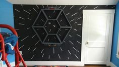 Star Wars ... Tie fighter hyperspace wall done on a chalkboard wall.