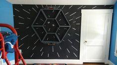Star Wars ... Tie fighter hyperspace wall done on a chalkboard wall.