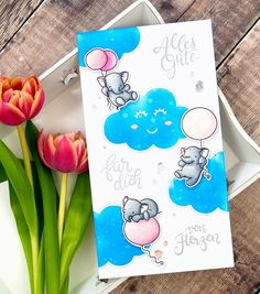 Eine neue Karte mit den tollen Elefanten und der Wolkenstanzform von @mamaelephant und nach einer Idee von @vera_rhuhay • A new card with… Mama Elephant, Cute Elephant, Form, Handmade Cards, Card Making, Greeting Cards, Paper Crafts, Stamp, Clouds