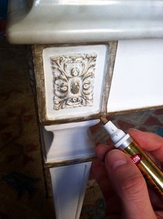 Krylon gold leaf pen. via: Little Green Notebook: Coffee Table Makeover